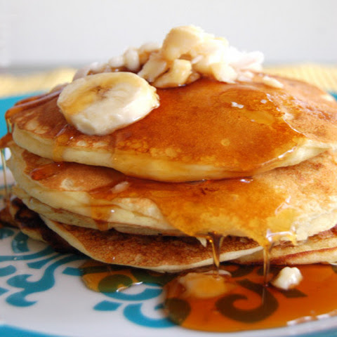 Banana Buttermilk Pancakes with Fresh Coconut and Macadamia Nuts