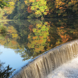 Waterfall from Speedwell Lake Morris Plains N J by Jen Henderson - Landscapes Waterscapes (  )