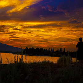by Tyson Davis - Landscapes Sunsets & Sunrises ( water, mountains, color, colorful, sunset, lake, fishing,  )