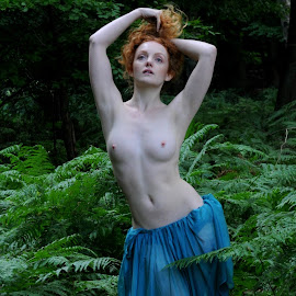 Among the Bracken by DJ Cockburn - Nudes & Boudoir Artistic Nude ( blue skirt, natural light, nude, topless, nature, woman, forest, redhead, ivory flame, standing, portrait )