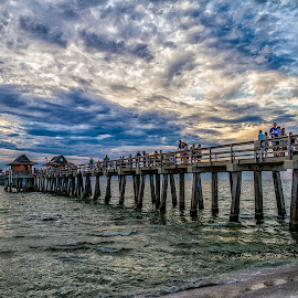 Naples Pier by Kenneth Anderson - Landscapes Waterscapes ( clouds, water, ocean., sky, pier )