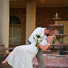 The kiss by Brenda Shoemake - Wedding Bride & Groom