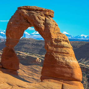 Delicate Arch by Beth Staub - Landscapes Deserts ( contrast, mountains, sky, outdoor photography, arches national park, arch, utah, snow, arches, red rock, sandstone, rocks,  )