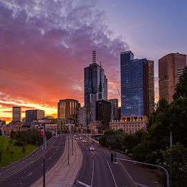 Sunset City by Keith Walmsley - City,  Street & Park  Skylines ( victoria, cars, sunset, buildings, clouds., australia, clouds, landscape )