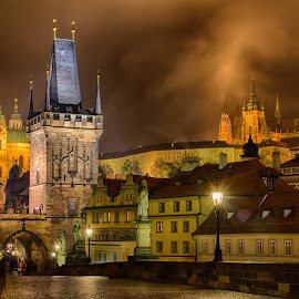 Charles Bridge by Mathijs Vos - City,  Street & Park  Night ( czech, night, bridge, charles, prague, city )