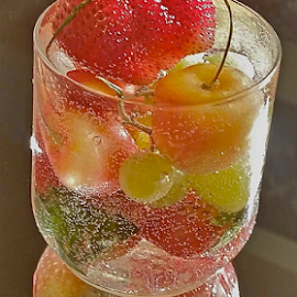{ Todays Crops in a Glass ~ Strawberry's ~ Grapes ~ Cherry's ~ 6 July  }  by Jeffrey Lee - Food & Drink Alcohol & Drinks ( { todays crops in a glass ~ strawberry's ~ grapes ~ cherry's ~ 6 july  },  )