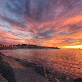 Sunset in Hull by Ann Goldman - Landscapes Sunsets & Sunrises ( bayside, sunset, cloudscape, clouds, summer )