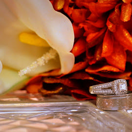 by Pam Satterfield Manning - Wedding Other ( pattern, still life, wedding, rings, wedding bands, flowers, mum, bokeh, lilly )
