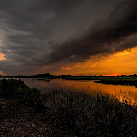 Sunset Storm by Linda Karlin - Landscapes Cloud Formations ( clouds, sunset, landscape )