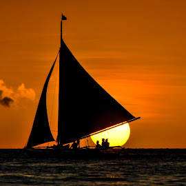 Energizing by Ynon Francisco - Transportation Boats ( waves, sea, travel, sailboat, boat, sun, sky, sailing, transport, boracay, sunset, commute, sail, trip, philippines )