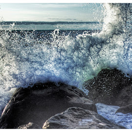 Crashing rocks by Rob King - Nature Up Close Water ( frozen in time, captured, wave, beauty )