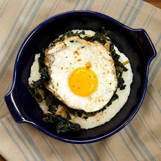 Grits with Sauteed Kale and Fried Eggs