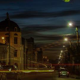 Twilight in town... by Bogdan Nitescu - City,  Street & Park  Street Scenes ( sunset, street, twilight, romania, braila, crepuscul, city,  )
