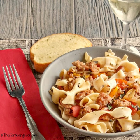 Mild Italian Sausage with Noodles and Wine