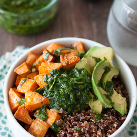 Quinoa and Sweet Potato Bowl with Chimichurri