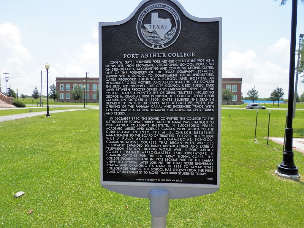 John W. Gates founded Port Arthur College in 1909 as a nonprofit, non-sectarian, vocational school focusing on stenography, accounting and communications. Gates, one of the founders of the Texas ...