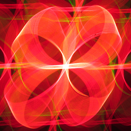 Ribbon by Jim Barton - Abstract Patterns ( orange, laser light, colorful, light design, ribbon, laser design, laser, laser light show, light, science )