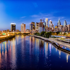 Night Time View from the South Street Bridge by Carol Ward - City,  Street & Park  Skylines ( schuylkill river, night photography, philly, south street bridge, philadelphia, nightscape )