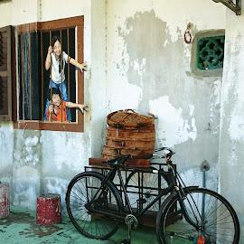 Childhood Memories by Joe Ong - City,  Street & Park  Street Scenes ( wall art, street art, penang, memories, childhood,  )