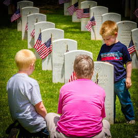 Family Visit by William Case - People Family ( love, friends, loved one, family, solder, cemetary, visit, friend, military )