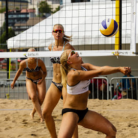 Beach volley by Simo Järvinen - Sports & Fitness Other Sports ( playing, ball, outdoor, action, sports, game, females, women )