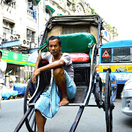 Carrying The Traditional by Anirban Chatterjee - People Professional People ( hardworker, earner, ricksaw, poor, puller )