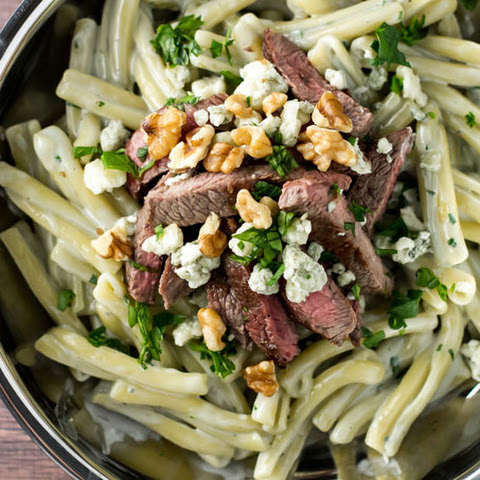 Blue Cheese Pasta with Steak