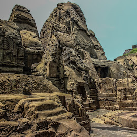 Masroor Rock Cut Temple by Swapnil Keshari - Buildings & Architecture Architectural Detail ( ancientruins, ancient, archeological, rock, masroor_rock )
