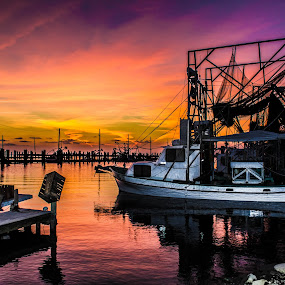 Red Sky at Night Sailors Delight by Victoria Evans - Landscapes Sunsets & Sunrises ( boats shrimping, sunset, louisiana, buras, gulf of mexico )