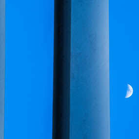 Moon Reflection in Glass by Thomas Shaw - Buildings & Architecture Other Exteriors ( sky, glass, reflection, city, nikon d7200, new york, building, nikon, moon, blue, new york city, daytime, photography )