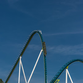 The Drop by Mike Watts - City,  Street & Park  Amusement Parks ( blue, coaster, roller coaster, carowinds )