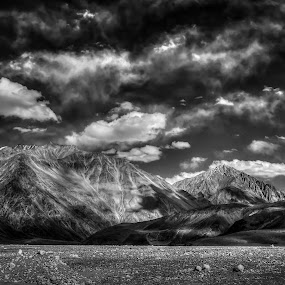 The Infinite Bliss by Dan FotoWorx - Landscapes Mountains & Hills ( terrain, clouds, mountains, sky, black and white, india, ladakh )