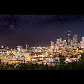 Seattle by Chris Shaffer - City,  Street & Park  Night ( seattle, city lights, cityscape, panoramic, nightscape,  )