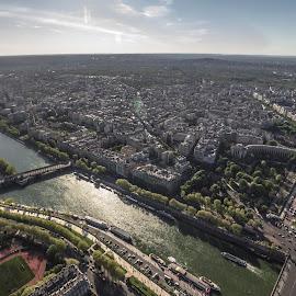 Paris by Dipmalya Chatterjee - City,  Street & Park  Skylines ( eiffel tower, paris, skyline, buildings, cityscape, river )