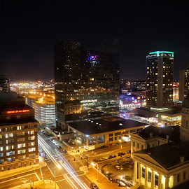 Downtown St.Louis by Matthew Sweetser - City,  Street & Park  Night ( lights, building, cityscape, downtown, city, nightlife )