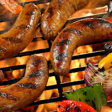 Grilled Sausage with Marinated Shrimp, Peppers and Onions