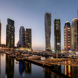 Jumairah Lakes Towers by Kingsly Xavier George - City,  Street & Park  Night ( sky scraper, vertical panorama, twist tower, dibai, uae, jumairah lakes towers, jlt, architecture, landscape )