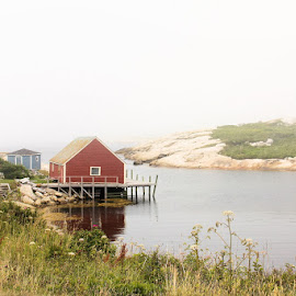 Peggy's Cove by Lena Arkell - Buildings & Architecture Other Exteriors ( red, atlantic, peggy's cove, ocean, canada, nova scotia, water, mist, fog )