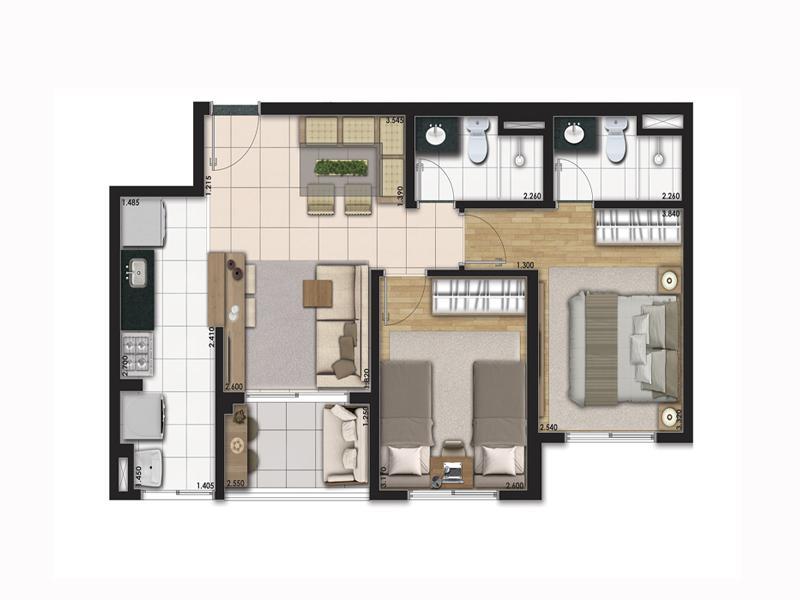 Planta Tipo 55m² com 2 Dormitórios