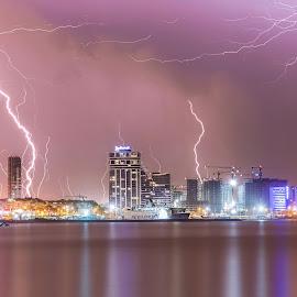 Zeus's Anger by Hatef Nobari - City,  Street & Park  Night ( lightening, night photography, city lights, long exposure, cityscape, nightscape )