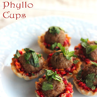 Meatball Mini Phyllo Cups with Cranberry Pecan Relish