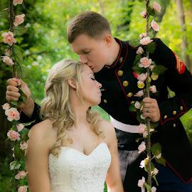The Swing by Brandi Davis - Wedding Bride & Groom ( kiss, outdoor, swing, bride, groom )