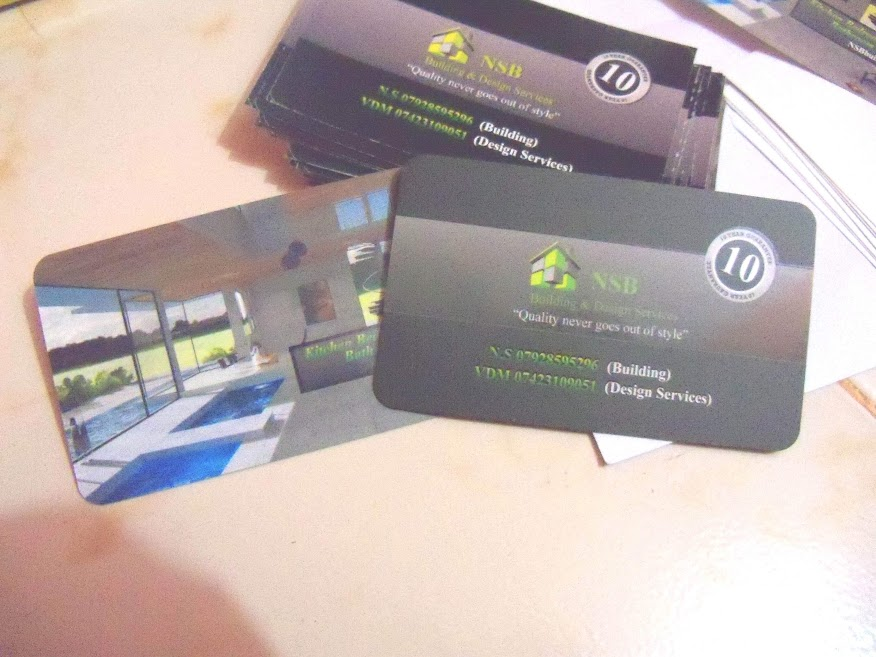 business cards and stickers printed