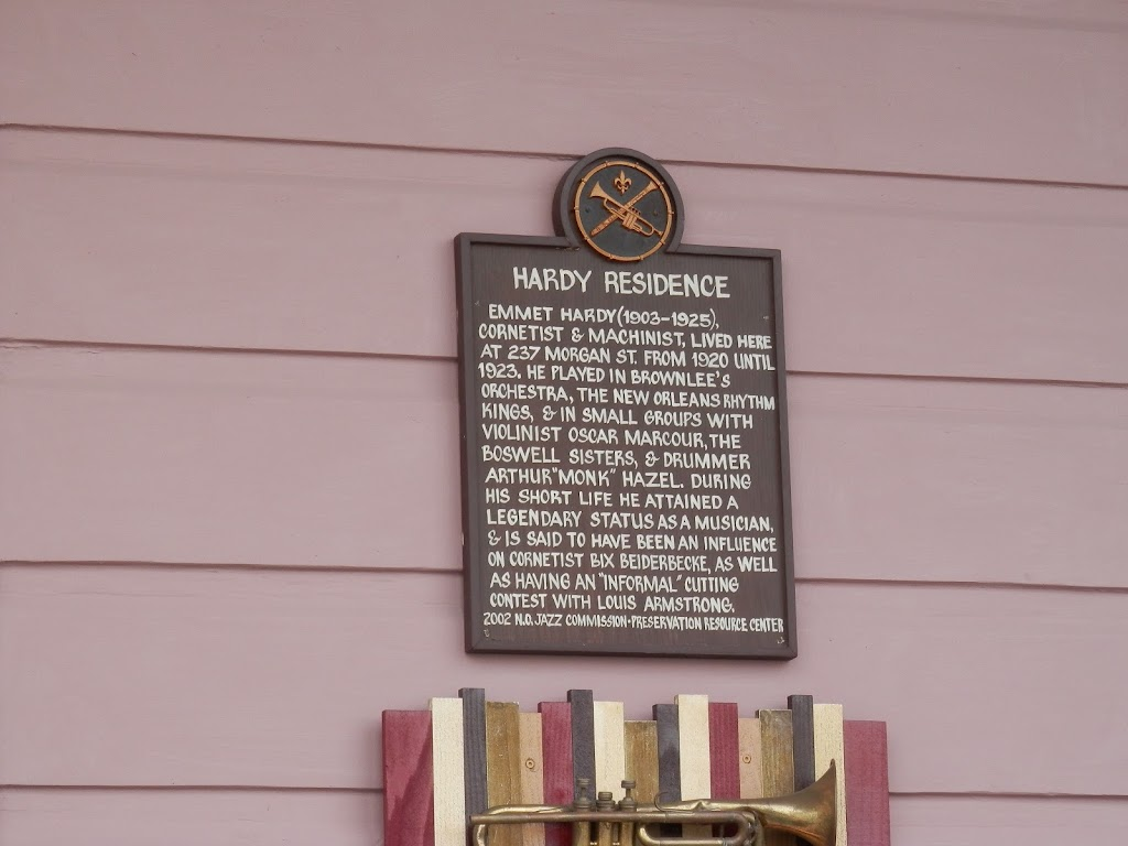 Emmet Hardy (1903-1925), cornetist and machinist, lived here at 237 Morgan Street from 1920-1923. He played in Brownlee's Orchestra, the New Orleans Rhythm Kings, and in small groups with violinist ...
