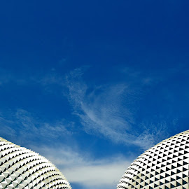 A Beautiful Pair by Justin Lee - Buildings & Architecture Architectural Detail ( building, exterior, futuristic, architecture, esplanade theater, singapore, geometry, sunshades, modern, sky, facade, justin adam lee, blue, contemporary, geometrical )
