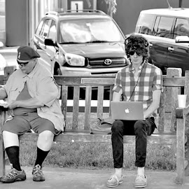 Generation Gap by Judy Laliberte - Novices Only Street & Candid ( story telling, older, b & w, young, people )