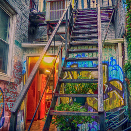 Pepi's Out Back in H D R by Dave Walters - Digital Art Places ( pepi's resturante, pittsburgh, art, colors h d r, buildings, city,  )