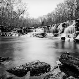 Blue Hole Falls - B&W by John Ray - Black & White Landscapes ( water, duck river, waterfalls, tamron 70-200 2.8, waterfall, tennessee, state, old stone fort state park, nikon d750, tree, le, d750, ice, trees, tamron 24-70 2.8, long exposure, ice nd 1000, nikon, manchester, 10 stop nd filter )