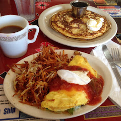 Spanish Scramble made into an omelette with hash browns and GF pancakes. Ask that the pancakes be done in a frypan.