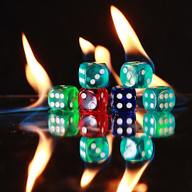 Dice on Fire by Peter Salmon - Artistic Objects Other Objects ( flames, dice, on, dots, fire )